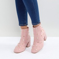 Glamorous Pearl Embellished Heeled Ankle Boots at asos.com