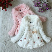 Girls Outerwear Coat Fleece Party Coat winter jacket Snowsuit 1-5T