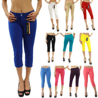 New Colored Soft Skinny Stretch Moleton Capri Jeggings Junior's Size S-XL JW2122