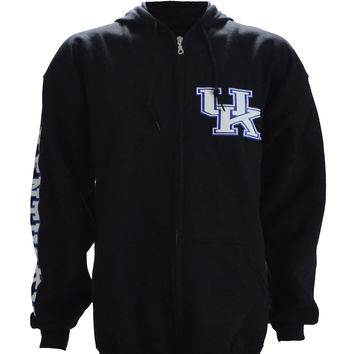 UK Interlock on a Black Zip Up hHoodie