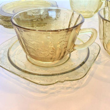 Amber Federal Madrid Teacup and Saucers Set of 5 Depression Glass Teacups and Saucers