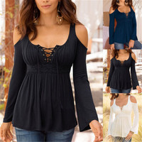 Women Apparel Summer Spring Style Sexy V Neck blouse shirt Sexy off shoulder blouse Women tops black Slim blusas female