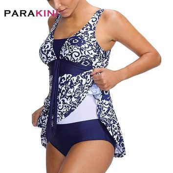 PARAKINI Plus Size Swimwear Female Polka Print One Piece Swimsuit Women Vintage Bathing One-Piece Suit Retro Large Size Swimsuit