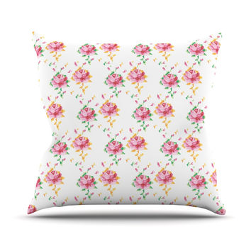"Laura Escalante ""Cross Stitch Flowers"" White Pink Throw Pillow"