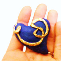 heart GIFT for HIM- blue & gold Clay heart keepsake one of a kind gift for him valentines day for him