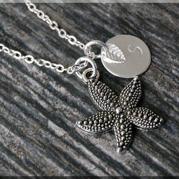 Silver Starfish Charm Necklace, Initial Charm Necklace, Personalized, Sea Creature Charm, Starfish Pendant, Ocean Jewelry, Beach charm