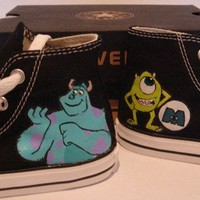 Hand Painted Monster INC On Black Converse Shoes COP17