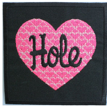 HOLE Heart Grunge Rock Iron On Embroidered Patch