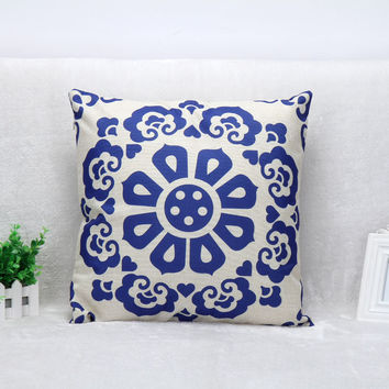 Vintage Printed Pillow Case Chinese Style Petal Blue And White Cushion Cotton Linen Cover Square 45X45CM