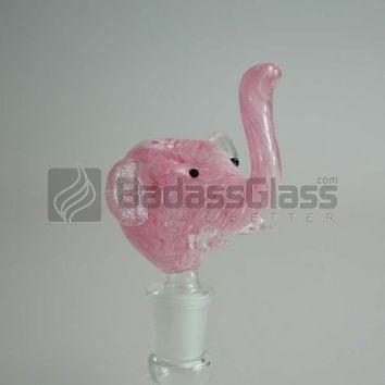 14mm Pink Elephant Male Bowl Piece at BadAssGlass.com