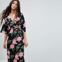 Influence Floral Print Wrap Midi Dress With Flared Sleeve at asos.com