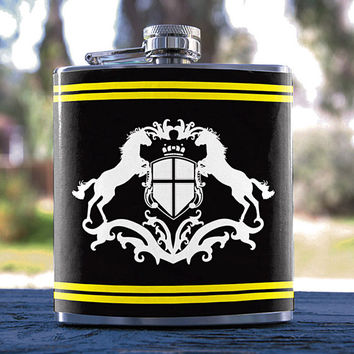Horse/Horse Art, Best Hip Flask 6oz Roman/Medieval/Luxury Style, for Gifts, Weddings, Men/Women, Bridesmaid, Groomsmen, Sorority & more!