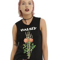 Halsey Skeleton Hand Flowers Girls Muscle Top