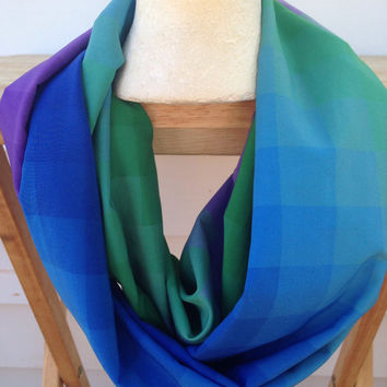 Handmade-Multi-Color Infinity Scarf-Fall Scarf-Scarf-Birthday Gift-Blue-Purple-Green-Women's Infinity Scarf-Silk Scarf-Polyester scarf