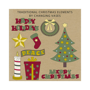 Instant Download, Digital Christmas Clipart Pack, Christmas Clip Art Collection Holiday Scrapbook Elements Burgundy Red Burgundy Green Gold