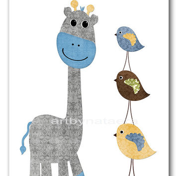 "Baby Print Baby Boy Nursery Art Baby Boy Nursery Baby Boy Room Decor Baby Nursery Decor Kids Art 8"" x 10"" Giraffe birds gray blue artwork"