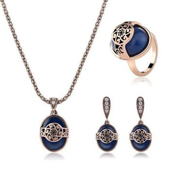 H:HYDE Elegant Blue Natural Stone Vintage Marcasite Thai Silver Color Drop Earrings and Pendant Jewelry Sets for Women