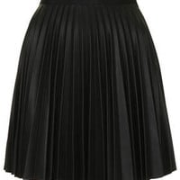 PU Pleated Mini Skirt - Black