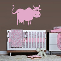 Wall Vinyl Sticker Decals Decor Art Bedroom Nursery Baby Kids Cow Cartoon (z1214)