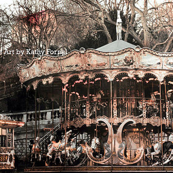 Paris Photography, Carousel Merry Go Round, Paris Sepia Photo Prints, Paris Carousel Sacre Coeur, Paris Montmartre Carousel Horses Photo 5x7