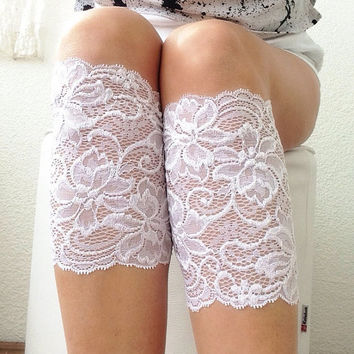 White Lace Boot Cuffs, Boot Socks, Leg Warmer, Women's Shoe Accessories, Lace Boot Toppers, legwear
