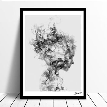 Unframed Modern Nordic Style Black White Girl Poster Canvas Painting Wall Art Pictures Home Decor