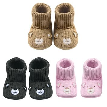 Baby Children Boots Shoes Cute Crochet Knit Baby Shoes Non-slip Soft Sole Walking Shoes Booties For Kids Girls