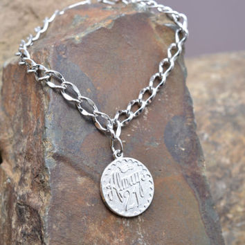 """Sterling Silver Charm Bracelet with """"Always 21"""" Charm"""