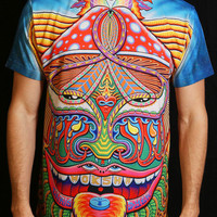 All Over Print Sublimation Rave Shirt - MOKSHA MASTER by Chris Dyer / Festival Clothing / Rave Clothing / Festival Shirt / Festival Outfit