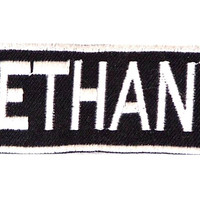 BETHANY Black and White Name Badge Iron on Patch for Biker Vest and Jacket NB277