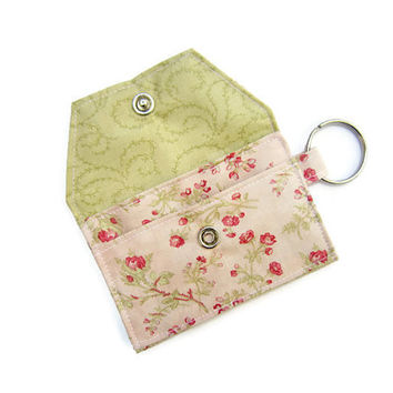 Mini key chain wallet/ simple ID Key chain pouch / keychain coin purse / Business card holder / pink floral and green grass pattern