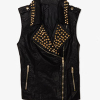 Faux Leather Studded Moto Vest