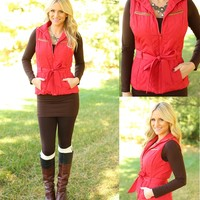 Belted Up Vest in Red