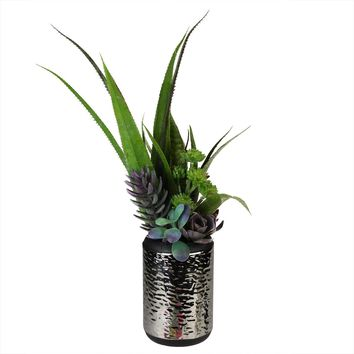 "19"" Artificial Mixed Succulent and Agave Arrangement in Silver Ceramic Pot"