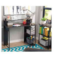 New Black Computer Desk Bookcase Shelf Home Office Set Study Contemporary Den