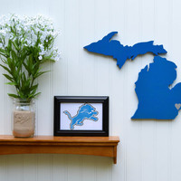 "Detroit Lions ""State Heart"" wall art, handcrafted wood featuring official team colors"