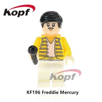 Single Sale Super Heroes Freddie Mercury Lead Singer Queen Donald Trump Hillary Clinton Popeye Building Blocks Kids Toys KF196