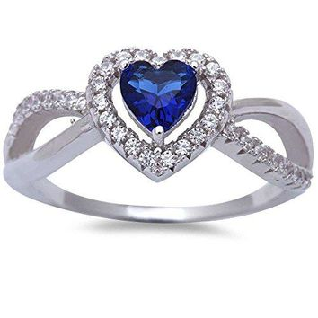 Simulated Blue Sapphire amp Cubic Zirconia Heart 925 Sterling Silver Ring Sizes 510