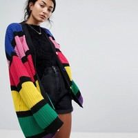 Lazy Oaf Oversized Cardigan In Bold Rainbow Stripe at asos.com