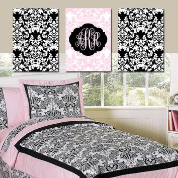 damask wall art monogram artwork pink black white girl bedroom nursery ornamental design set of 3 - Damask Bedroom Ideas