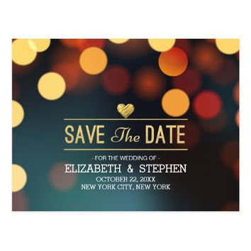 Modern Teal Gold Bokeh Light Wedding Save The Date Postcard