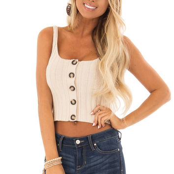 Tan Ribbed Knit Button Up Cropped Tank Top