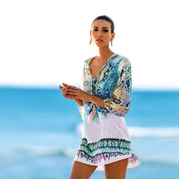 DKLW8 Vintage Serpentine Beach Swimsuit Cover Up Chiffon Dress Swimwear Women Kaftan Beach Towel Bikini Sheer Swim Suit Long T shirts
