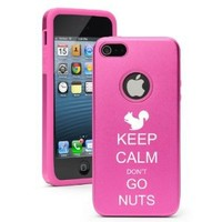 Apple iPhone 5 Hot Pink 5D1201 Aluminum & Silicone Case Cover Keep Calm Don`t Go Nuts Squirrel: Cell Phones & Accessories