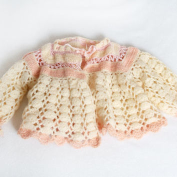 Vintage Baby or Doll Crochet Jacket Pink and Antique White