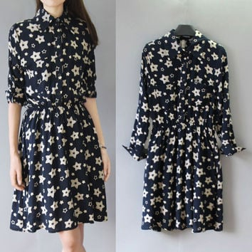 Black Star Print Long Sleeve Mini Dress