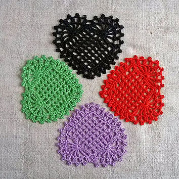Big handmade crochet heart Appliques shapes hearts Pineapple pattern Beautiful ananas motif crocheted Hearts lace Embellishments ornaments