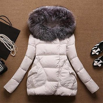 High quality white duck down thick winter jacket women A line parka fur collar hooded winter coat female outerwear TT1155