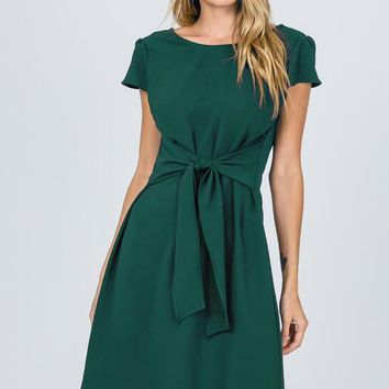 Alexandra Tie Front Green Dress
