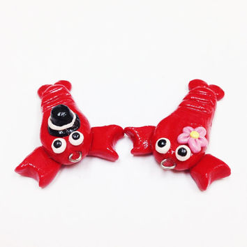 Unique Valentine gift, lobster charm, polymer clay charm, You're my lobster, Friends TV show, key chain, romantic, funny gift for boyfriend